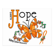 Stained Glass Butterfly Kidney Cancer Postcard