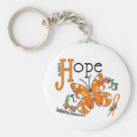 Stained Glass Butterfly Leukemia Basic Round Button Keychain