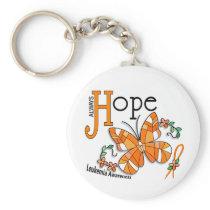 Stained Glass Butterfly Leukemia Keychain