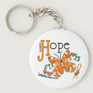 Stained Glass Butterfly Leukemia Keychain