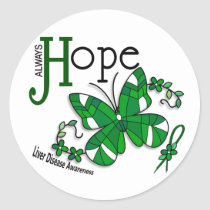 Stained Glass Butterfly Liver Disease Classic Round Sticker