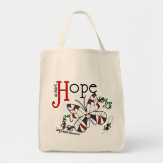 Stained Glass Butterfly Lung Cancer Grocery Tote Bag