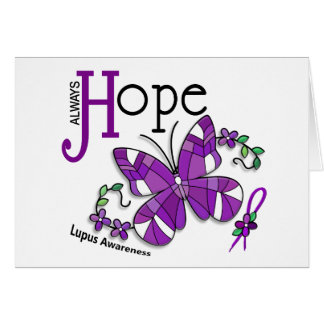 Stained Glass Butterfly Lupus Greeting Cards