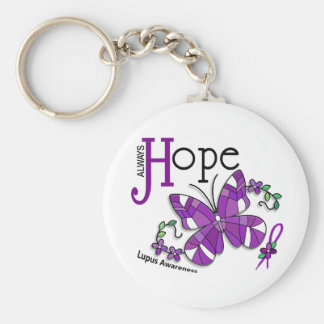 Stained Glass Butterfly Lupus Keychain