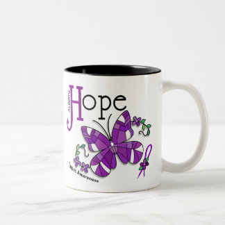 Stained Glass Butterfly Lupus Two-Tone Coffee Mug