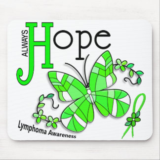 Stained Glass Butterfly Lymphoma Mouse Pad