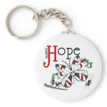 Stained Glass Butterfly Mesothelioma Keychain