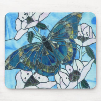 Stained glass Butterfly Mouse Pad