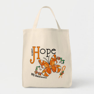 Stained Glass Butterfly MS Grocery Tote Bag