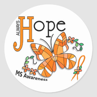 Stained Glass Butterfly MS Classic Round Sticker