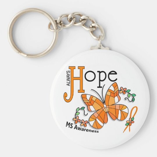 Stained Glass Butterfly MS Keychain