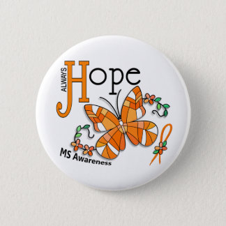 Stained Glass Butterfly MS Pinback Button