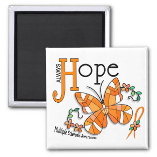 Stained Glass Butterfly Multiple Sclerosis 2 Inch Square Magnet