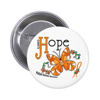 Stained Glass Butterfly Multiple Sclerosis Pinback Button