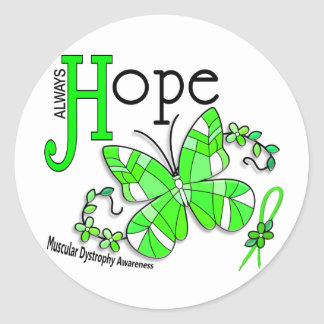 Stained Glass Butterfly Muscular Dystrophy Classic Round Sticker