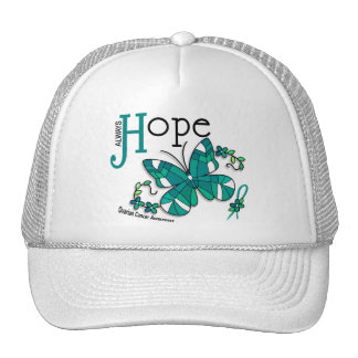 Stained Glass Butterfly Ovarian Cancer Trucker Hats