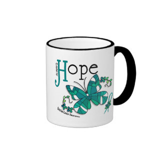 Stained Glass Butterfly Ovarian Cancer Coffee Mugs