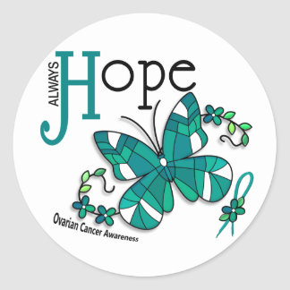 Stained Glass Butterfly Ovarian Cancer Round Sticker