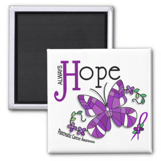 Stained Glass Butterfly Pancreatic Cancer 2 Inch Square Magnet