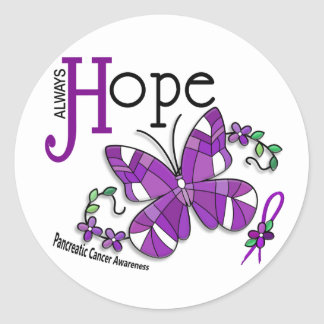 Stained Glass Butterfly Pancreatic Cancer Classic Round Sticker