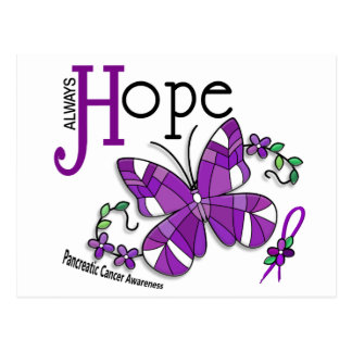 Stained Glass Butterfly Pancreatic Cancer Postcard