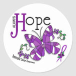 Stained Glass Butterfly Pancreatic Cancer Round Stickers