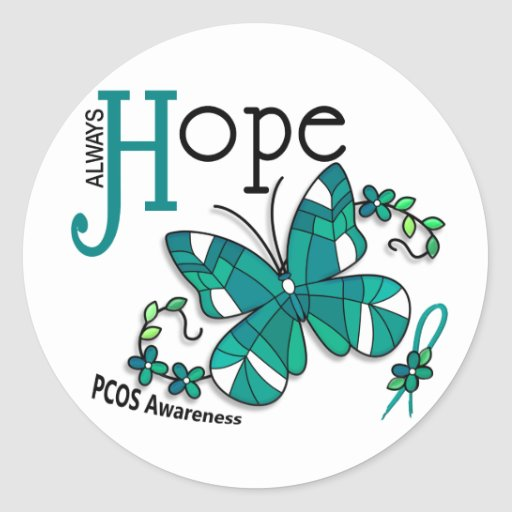 Stained Glass Butterfly PCOS Classic Round Sticker