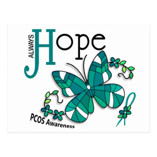 Stained Glass Butterfly PCOS Postcard