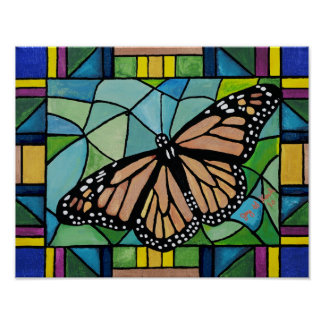 Stained Glass Butterfly Poster