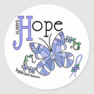 Stained Glass Butterfly Prostate Cancer Classic Round Sticker