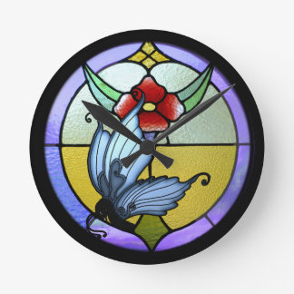 Stained Glass Butterfly Round Clock