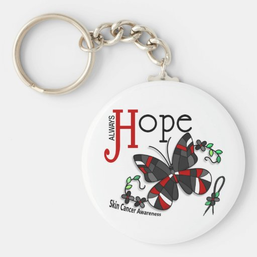 Stained Glass Butterfly Skin Cancer Key Chain