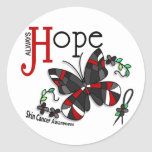 Stained Glass Butterfly Skin Cancer Round Sticker