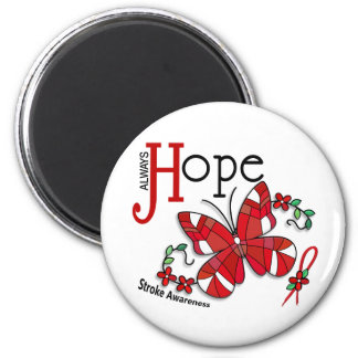 Stained Glass Butterfly Stroke 2 Inch Round Magnet