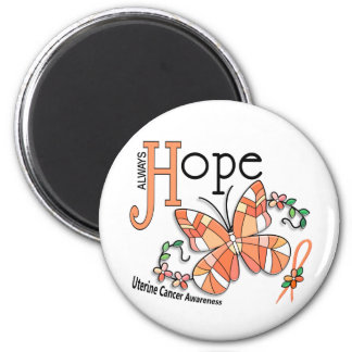 Stained Glass Butterfly Uterine Cancer 2 Inch Round Magnet
