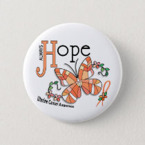 Stained Glass Butterfly Uterine Cancer Button