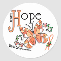 Stained Glass Butterfly Uterine Cancer Classic Round Sticker