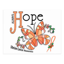 Stained Glass Butterfly Uterine Cancer Postcard