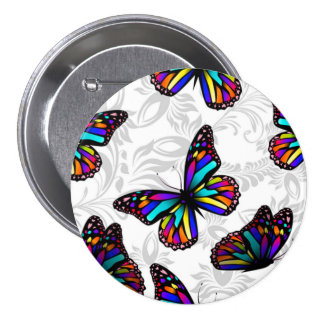 Stained Glass Butterfly with foliage button
