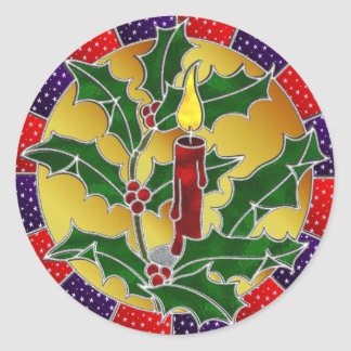 Stained glass candle and holly classic round sticker