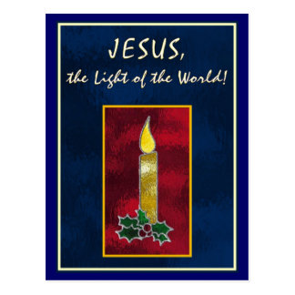 Stained glass candle postcard