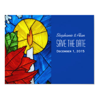 Stained Glass Candle Save The Date Card