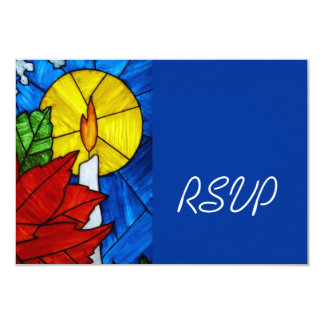 Stained Glass Candle Wedding RSVP Card