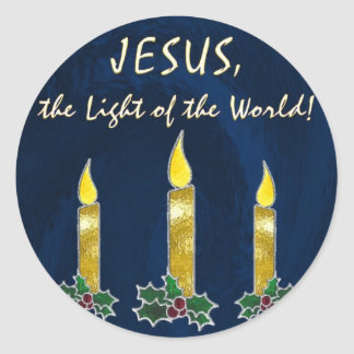 Stained glass candles classic round sticker