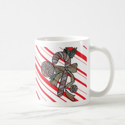 Stained Glass Candy Cane Drinkware Classic White Coffee Mug