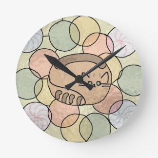 Stained glass candy cat round wall clocks