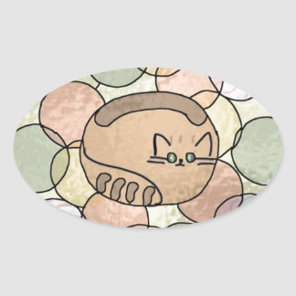 Stained glass candy cat oval sticker