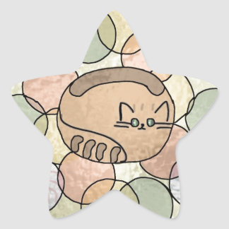 Stained glass candy cat star sticker