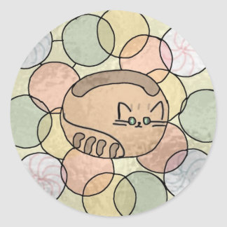 Stained glass candy cat classic round sticker