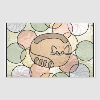 Stained glass candy cat rectangular sticker